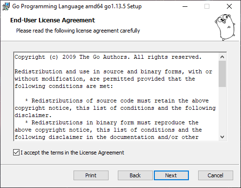 Install Golang Accept License Agreement