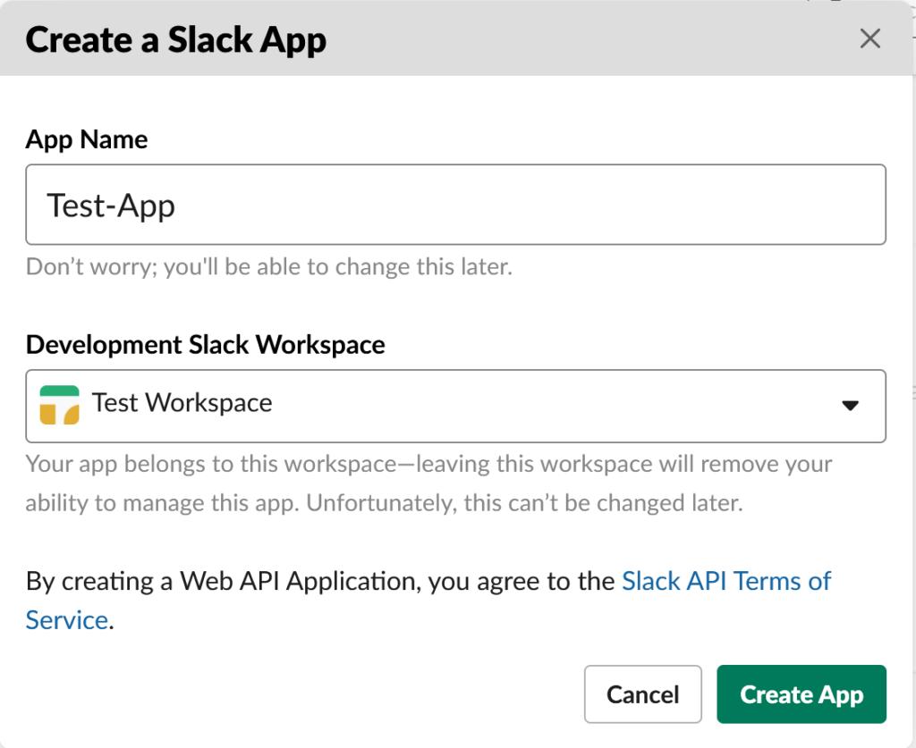 Slack Test App Creation